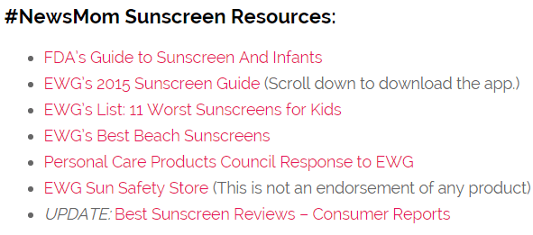 sunscreen resources