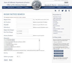 Prop 65 AG Database
