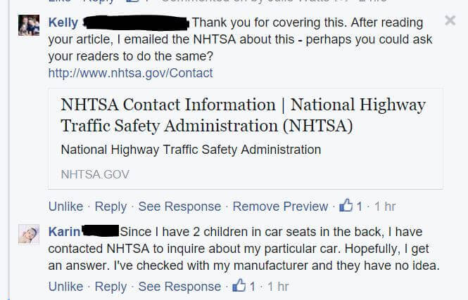 Facebook Contact NHTSA